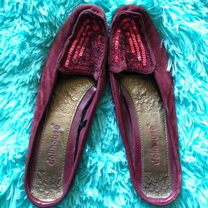 DOLLHOUSE red sequins slip on shoes with low heel